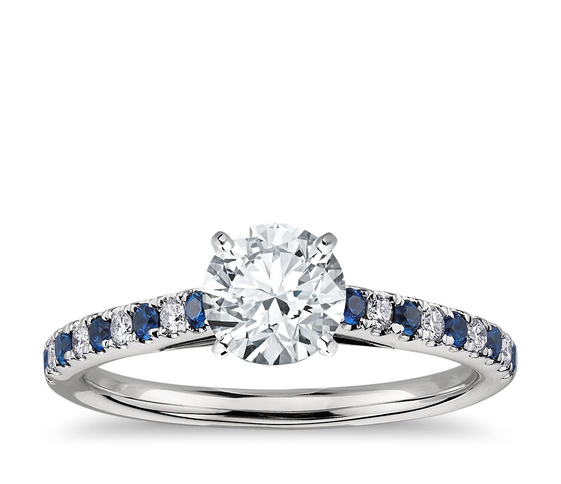 riviera micropav sapphire and diamond engagement ring in platinum - Sapphire Wedding Rings