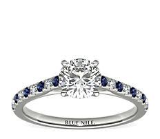 鉑金Riviera 微密釘藍寶石與鑽石訂婚戒指