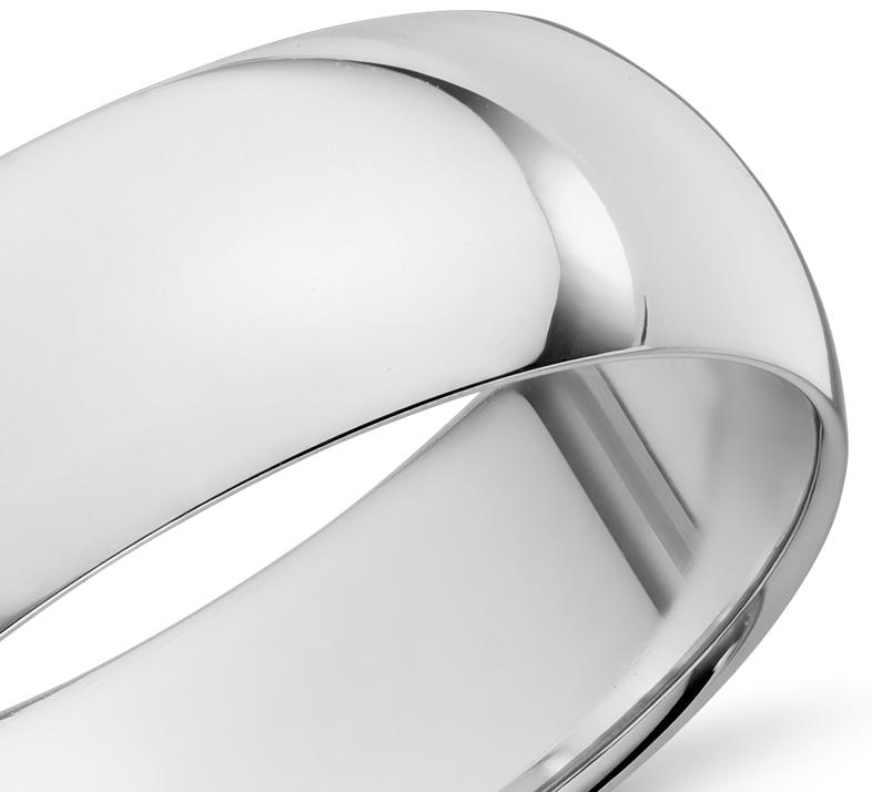Alliance confort légère en or blanc 14carats (7mm)