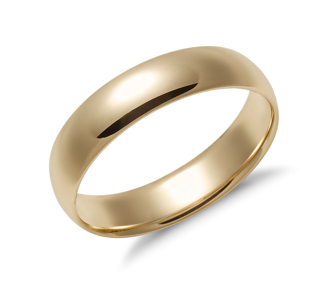 Mens Wedding Band.Mid Weight Comfort Fit Wedding Band In 14k Yellow Gold 5mm