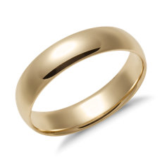 Mid Weight Comfort Fit Wedding Band In 14k Yellow Gold 5mm