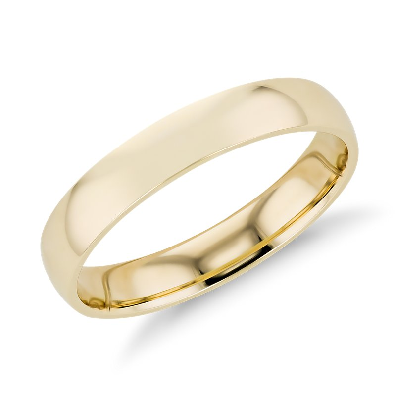 Mid-weight Comfort Fit Wedding Band in 14k Yellow Gold (4mm)