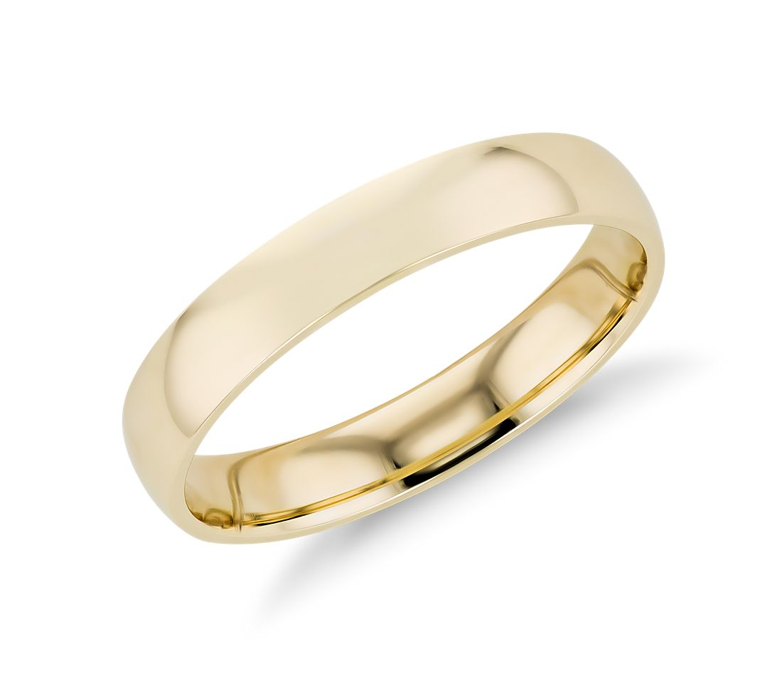 Mid Weight Comfort Fit Wedding Band In 14k Yellow Gold 4mm