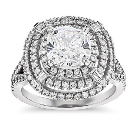 Mila Halo Cushion-Cut Diamond Engagement Ring in Platinum  (2.92 ct. tw.)