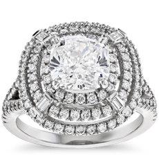 铂金 Mila 垫形切割光环钻石订婚戒指(2.92 克拉总重量)