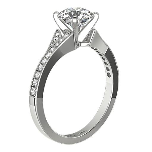 Milgrain and Pave V-Shank Diamond Engagement Ring