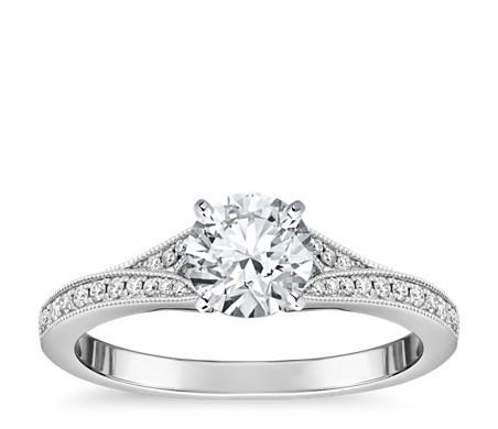 Milgrain and Pave V-Shank Diamond Engagement Ring 14k White Gold (1/8 ct. wt.)