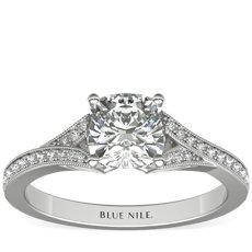 Milgrain and Pavé V-Shank Diamond Engagement Ring in 14k White Gold (1/8 ct. wt.)