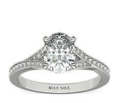 Bague de fiançailles millegrain cercle en V en diamants sertis pavé en or blanc 14carats (0,13carat, poids total)