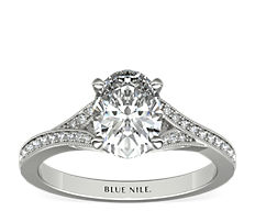Milgrain and Pave V-Shank Diamond Engagement Ring in 14k White Gold (0.13 ct. wt.)