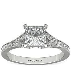 Anillo de compromiso de diamantes en pavé con cuerpo en V y milgrain en oro blanco de 14 k (1/8 qt total)
