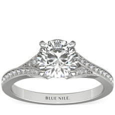 Milgrain and Pave V-Shank Diamond Engagement Ring in 14k White Gold (0.13 ct. wt.)