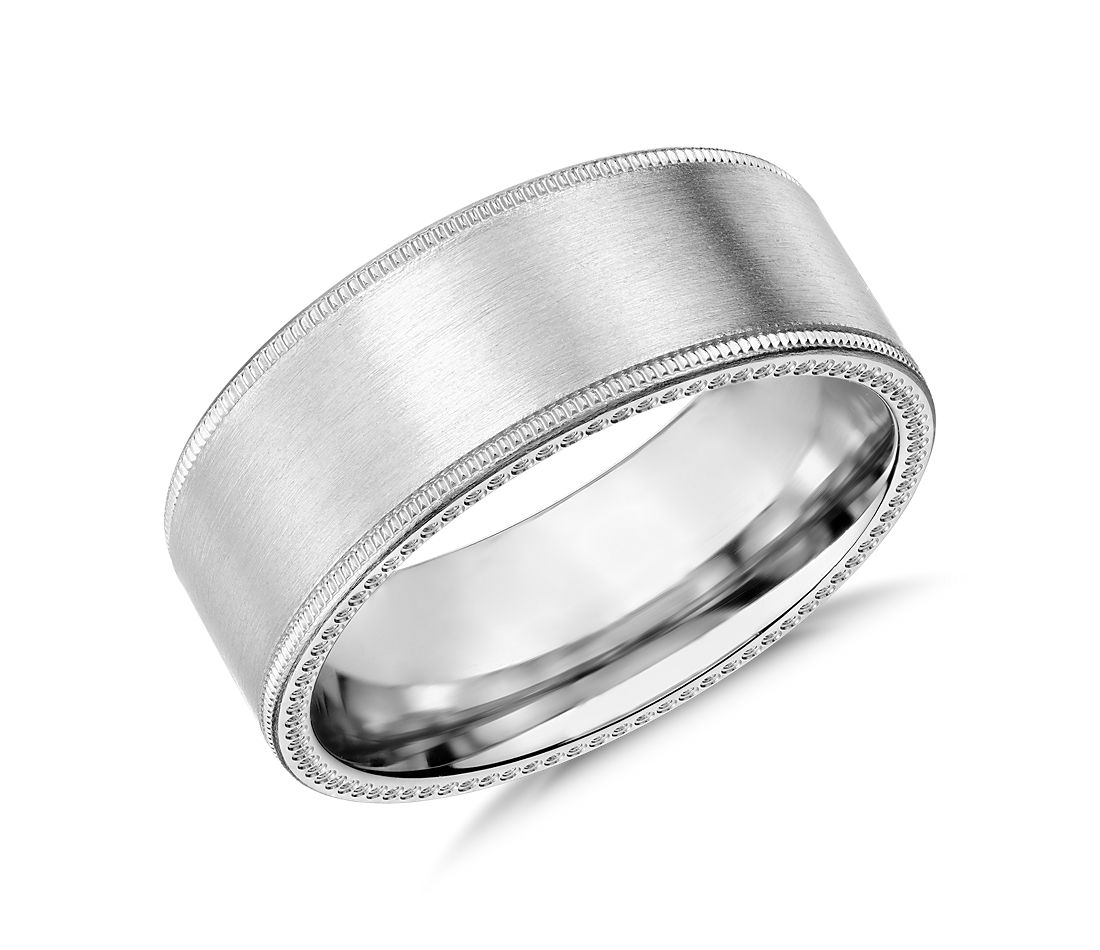 Milgrain Edge Wedding Ring in 14k White Gold (8mm)