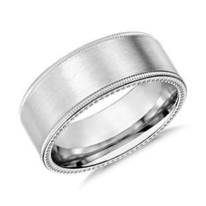 Milgrain Edge Wedding Ring in 14k White Gold (8mm)