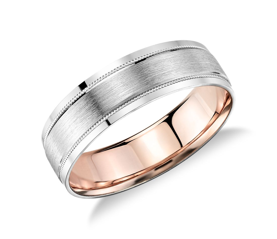 Milgrain Brushed Inlay Wedding Ring In Platinum And 18k Rose Gold 6mm