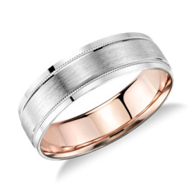 Alliance avec incrustation brossée millegrain en platine et or rose 18 carats - (6 mm)
