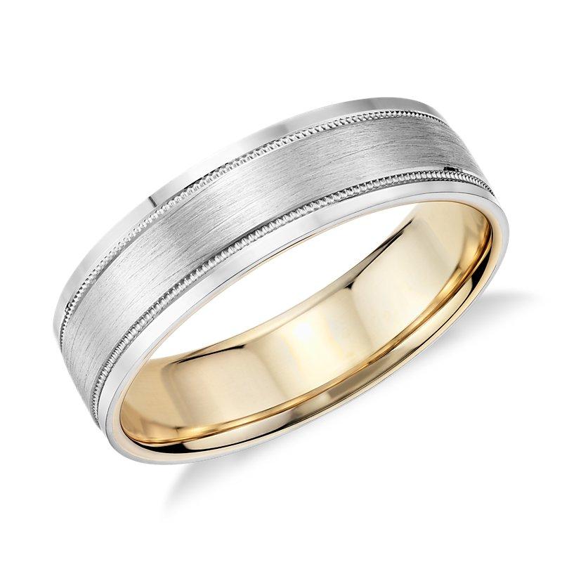 Milgrain Brushed Inlay Wedding Ring in Platinum and 18k Yellow Go