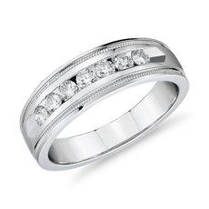Anillo de bodas de diamantes con engarce de canal y milgrain en oro blanco de 14 k (1/2 qt. total)