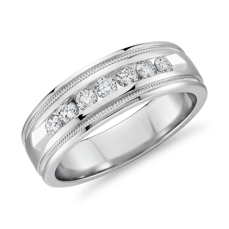 Milgrain Channel Set Diamond Wedding Ring in Platinum (1/2 ct. tw