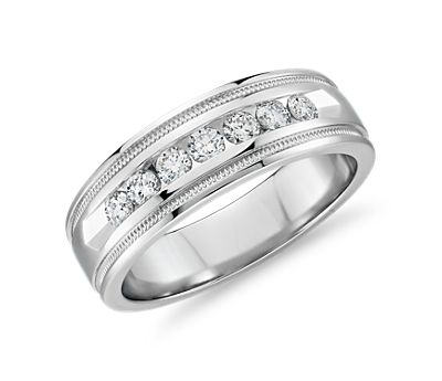 Channel Set Diamond and Platinum Wedding Ring
