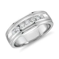 铂金锯状滚边槽镶钻石结婚戒指<br>(1/2 克拉总重量)