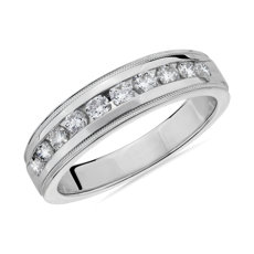 NEW Milgrain Channel-Set Diamond Wedding Ring in 14k White Gold (6mm)