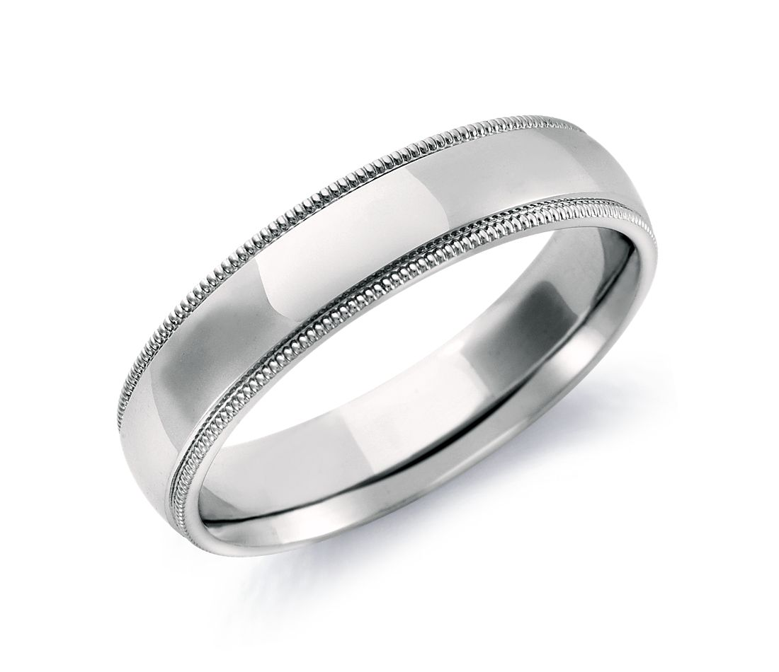 milgrain comfort fit wedding ring in 14k white gold 5mm - White Gold Wedding Rings