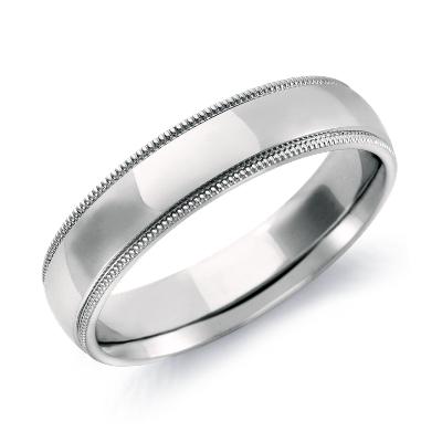 Milgrain Comfort Fit Wedding Ring in 14k White Gold 5mm Blue Nile