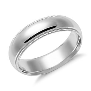Milgrain Comfort Fit Wedding Ring in 14k White Gold (6mm)