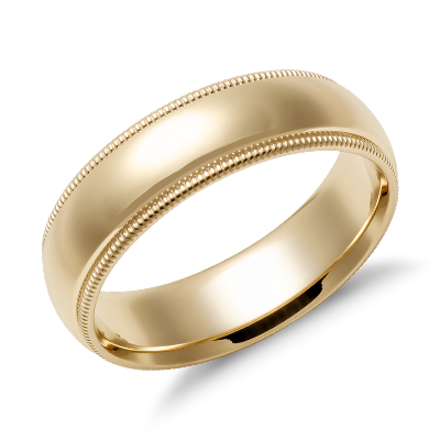 Milgrain Comfort Fit Wedding Ring in 14k Yellow Gold 6mm Blue Nile