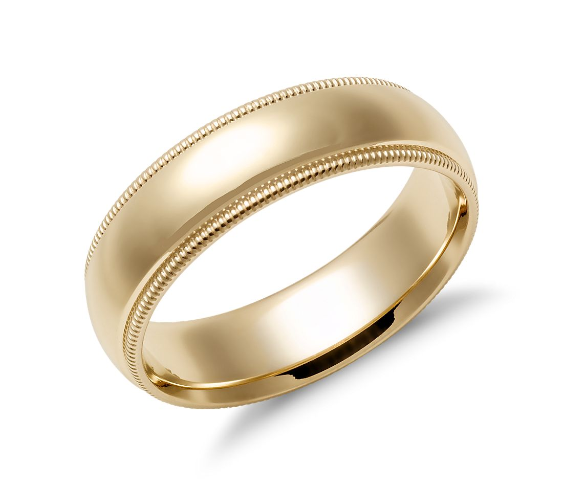Milgrain Comfort Fit Wedding Ring in 14k Yellow Gold (6mm)