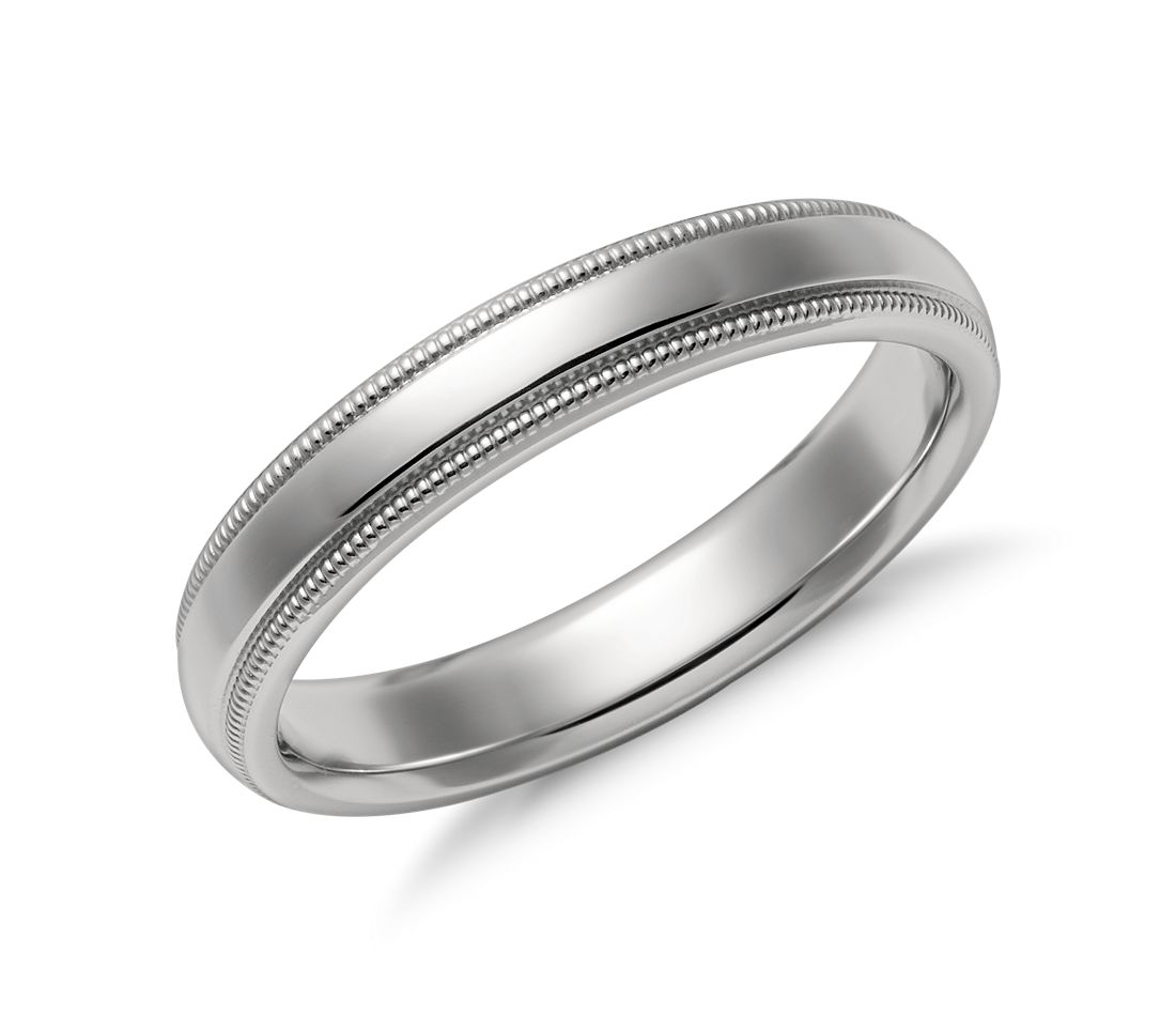 Td123864w 14k White Gold Double Milgrain 4mm Comfort Fit: Milgrain Comfort Fit Wedding Ring In Platinum (4mm)