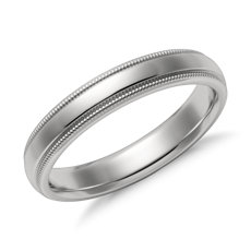 Milgrain Comfort Fit Wedding Ring in Platinum (4mm)