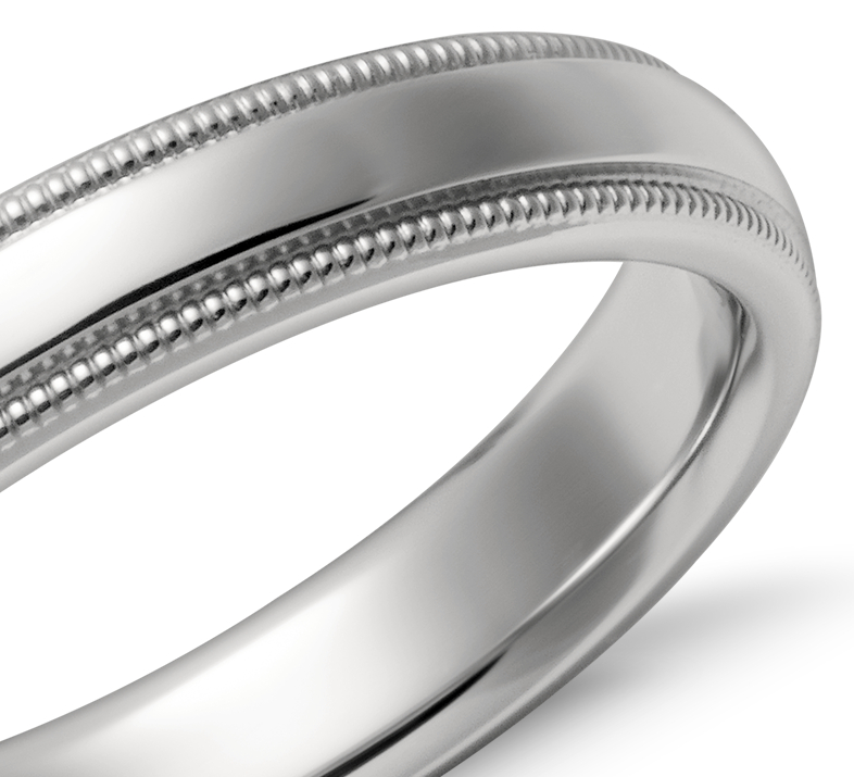 Alianza de ajuste cómodo milgrain en platino (4mm)