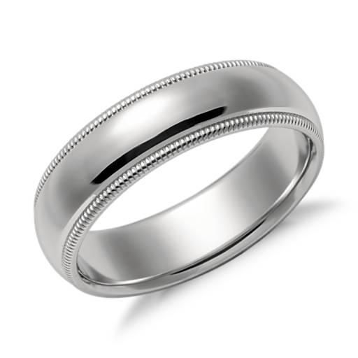 Milgrain Wedding Ring In Platinum 7mm: Milgrain Comfort Fit Wedding Ring In Platinum (6mm)
