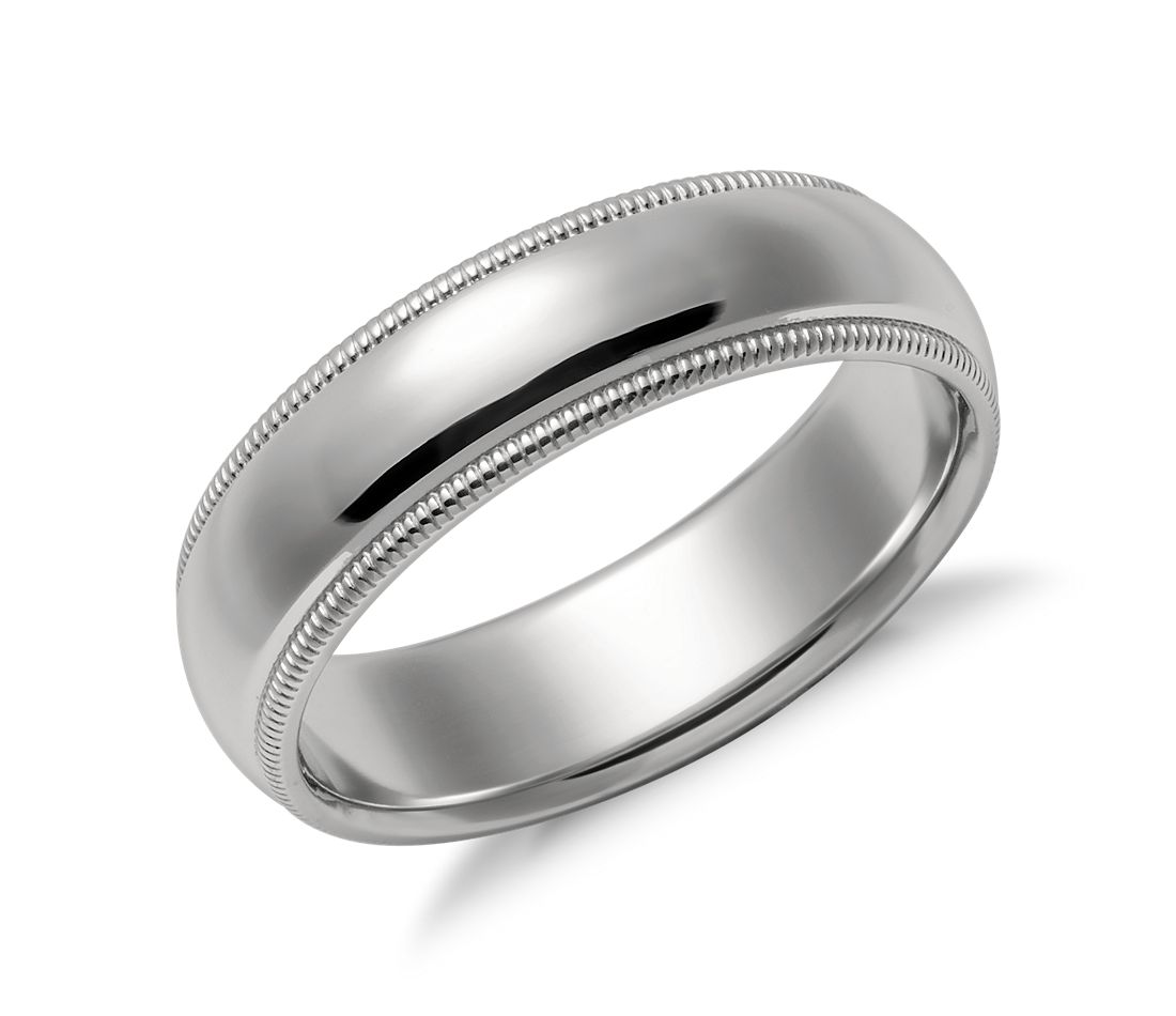 Milgrain Comfort Fit Wedding Ring In Platinum 6mm