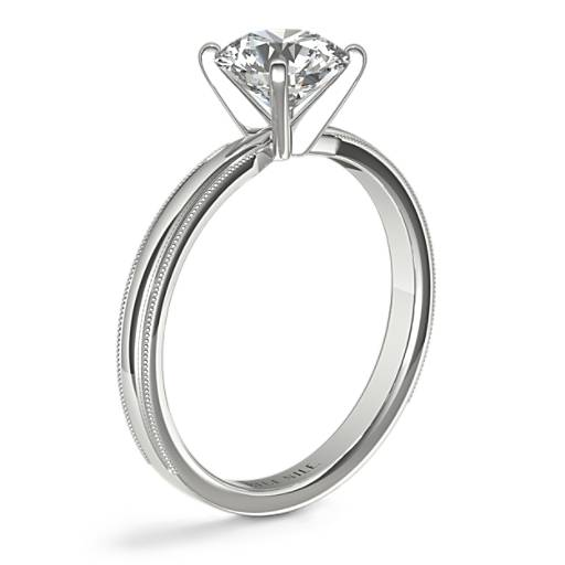 Milgrain Comfort Fit Solitaire Engagement Ring