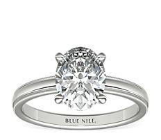 铂金锯状内圈卜身设计单石订婚戒指<br>(2.5毫米)