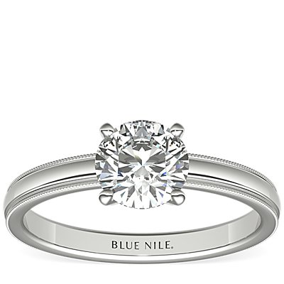Milgrain Comfort Fit Solitaire Engagement Ring in Platinum (2.5mm)