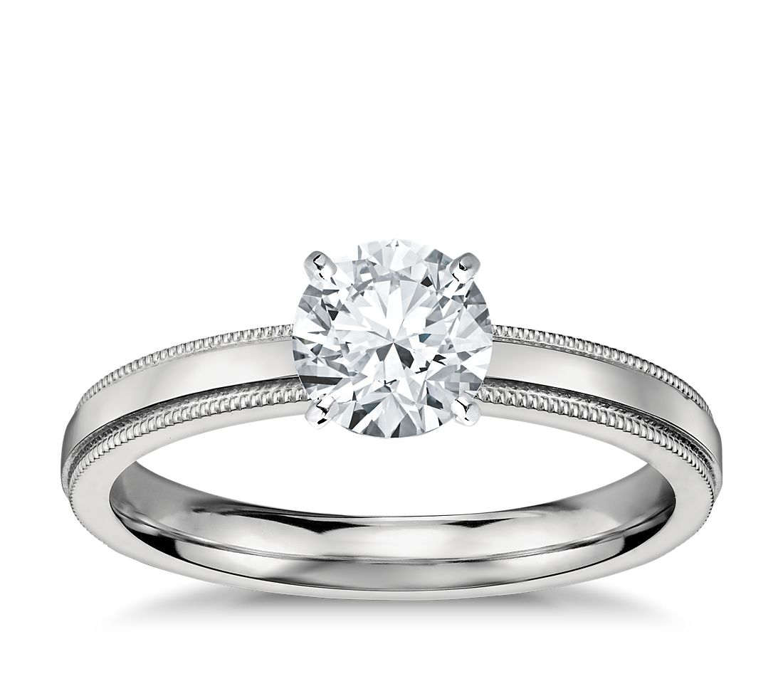 Milgrain Comfort Fit Wedding Ring In Platinum 6mm: Milgrain Comfort Fit Solitaire Engagement Ring In Platinum
