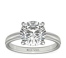 鉑金鋸狀內圈卜身設計單石訂婚戒指(2.5毫米)