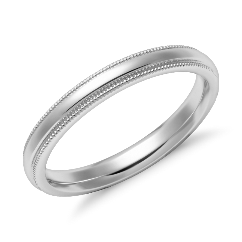 Milgrain Comfort Fit Wedding Ring in 14k White Gold (2.5mm)