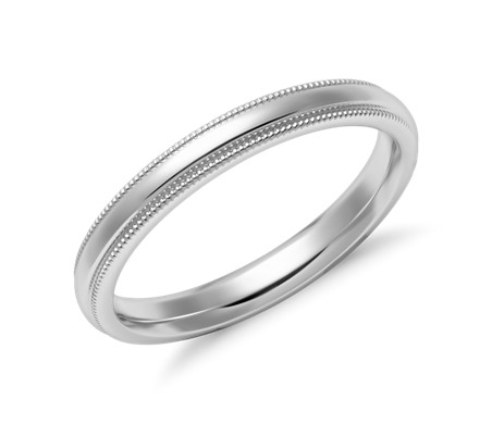 Alliance confort à millegrain en or blanc 14 carats (2,5 mm)