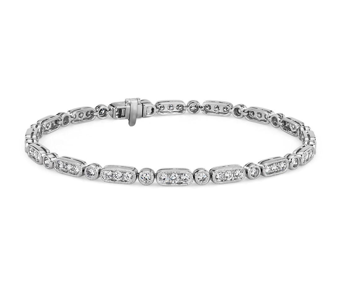 14k 白金鋸狀鑽石手鍊(2 克拉總重量)
