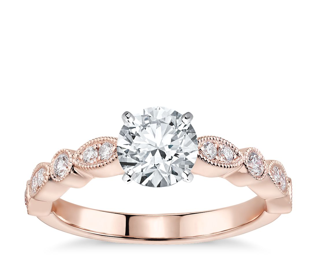 Milgrain Marquise And Dot Diamond Engagement Ring In 14k Rose Gold 1 5 Ct Tw