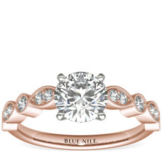 Milgrain Marquise and Dot Diamond Engagement Ring in 14k Rose Gold (1/5 ct. tw.)