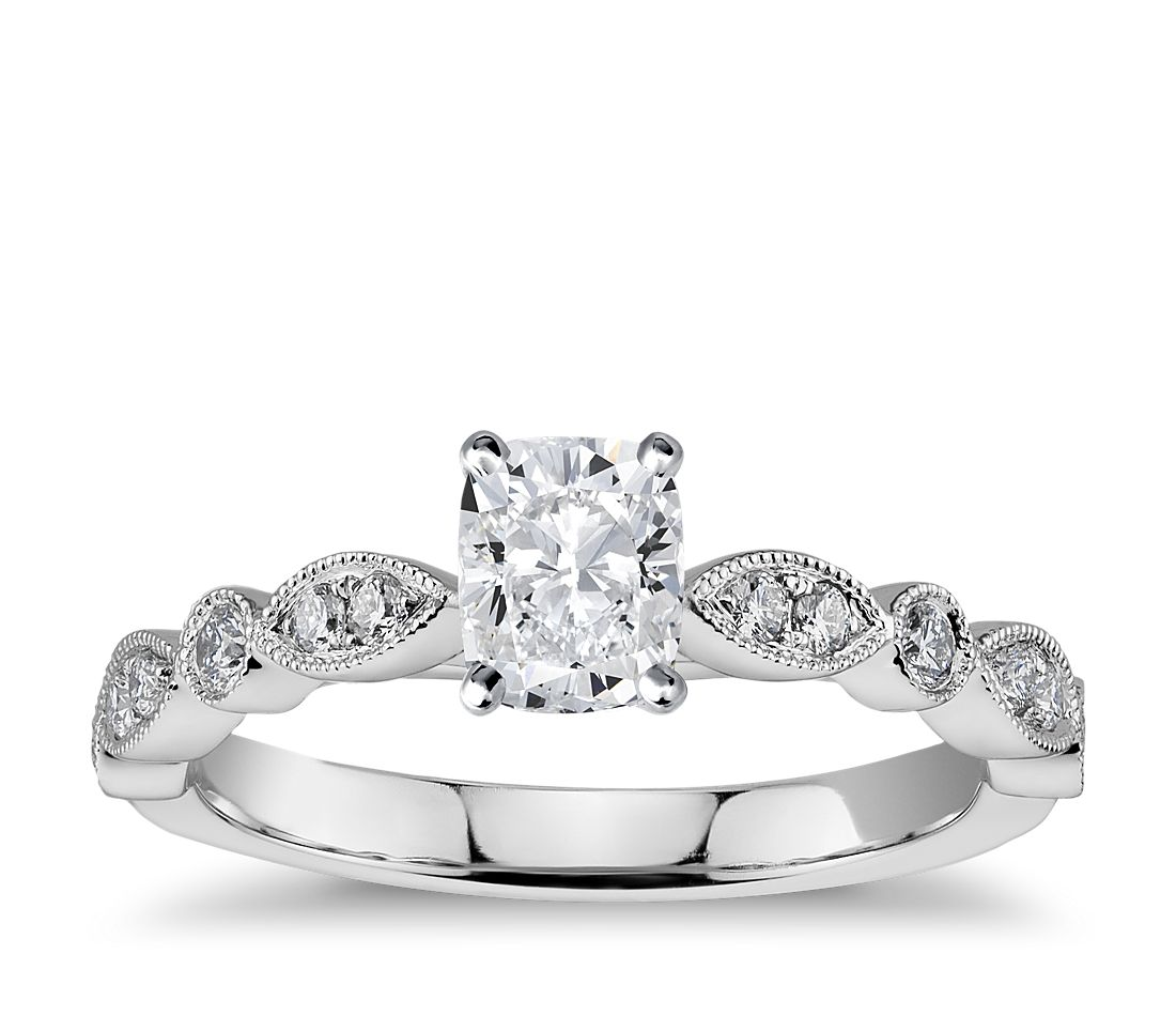 48589be2dbe Milgrain Marquise and Dot Diamond Engagement Ring in 14K White Gold