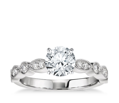 Milgrain Marquise and Dot Diamond Engagement Ring in 14k White Gold (1/5 ct. tw.)