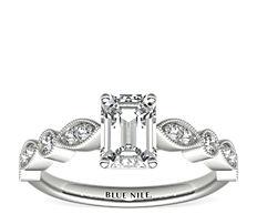 Bague de fiançailles diamant marquise millegrain et pois en or blanc 14carats (0,20carat, poids total)