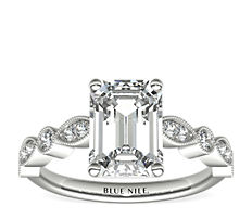 Milgrain Marquise and Dot Diamond Engagement Ring in 14K White Gold (0.20 ct. tw.)